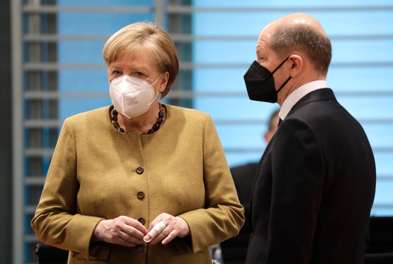 Angela Merkel, Bundeskanzlerin, CDU, Olaf Scholz, Bundesminister der Finanzen, SPD, 137. Bundeskabinettsitzung, DEU, Be