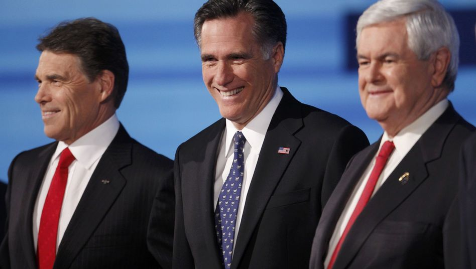 Rick Perry, Mitt Romney, Newt Gingrich (von links): Von ihnen tritt in Virignia nur Romney an