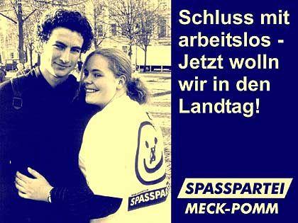 Spasspartei-Wahlplakat für die anstehenden Landtagswahlen in Mecklenburg-Vorpommern