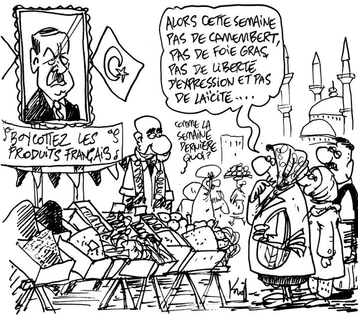 """Boykottiert französische Produkte. """"Diese Woche also wieder kein Camembert, keine Foie Gras, keine Meinungsfreiheit, keine Trennung von Kirche und Staat."""" – """"Wie letzte Woche?"""" Zeichnung: Pierre Kroll"""