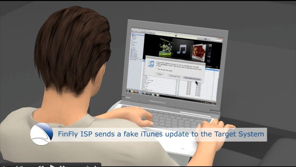 A screen shot from the firm's promotion video: A fake iTunes update