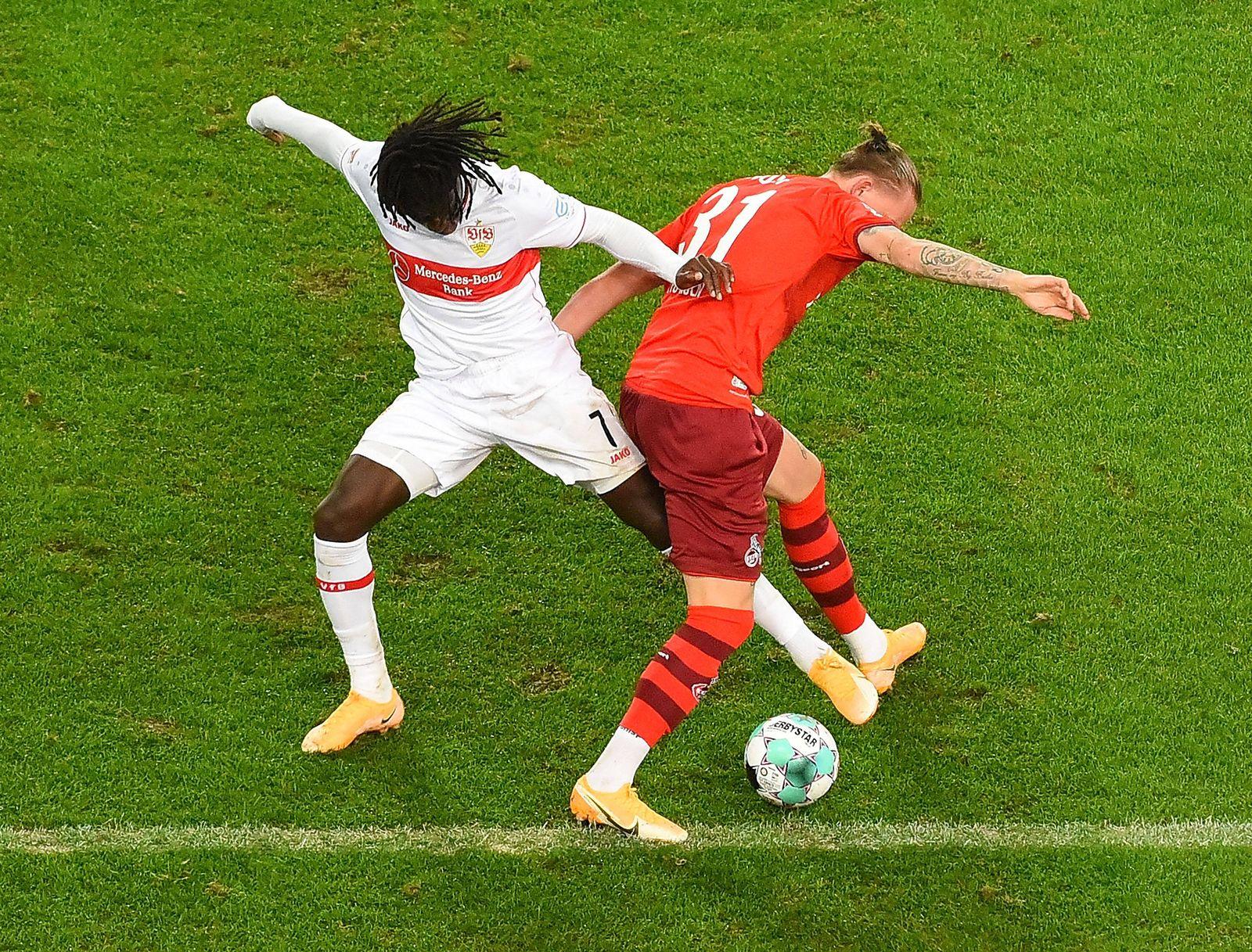 23.10.2020, xhbx, Fussball 1.Bundesliga, VfB Stuttgart - 1.FC Koeln emspor, v.l. Tanguy Coulibaly (VfB Stuttgart), Mariu