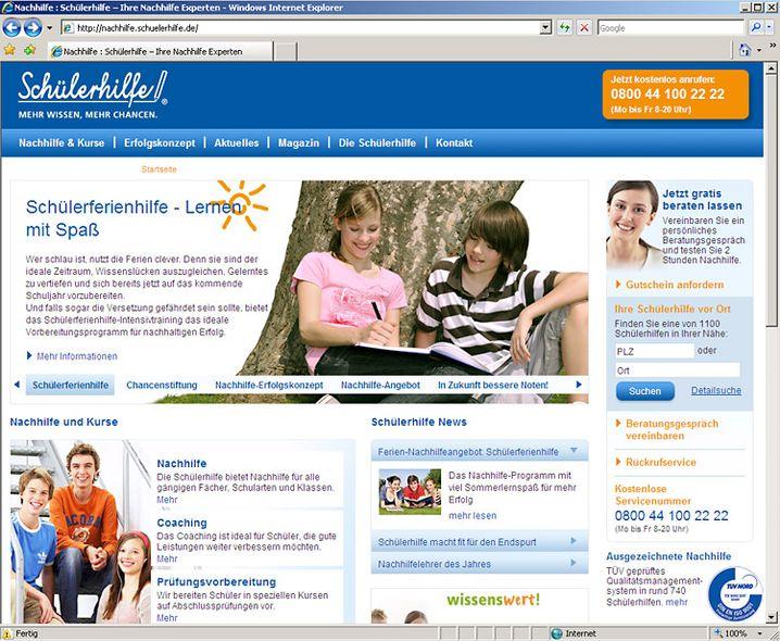 """Screenshot von """"Schuelerhilfe.de"""": """"Mit tollen Business-Plänen geködert"""""""