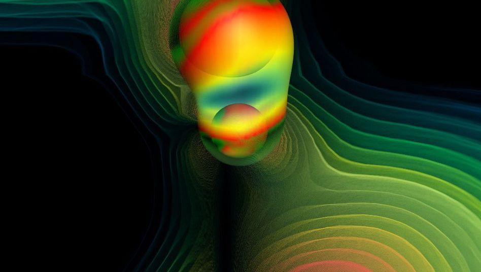 Simulation der Verschmelzung zweier schwarzer Löcher und ihrer Gravitationswellen