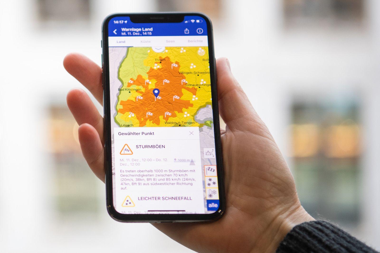 «WarnWetter-App» des Deutschen Wetterdienstes
