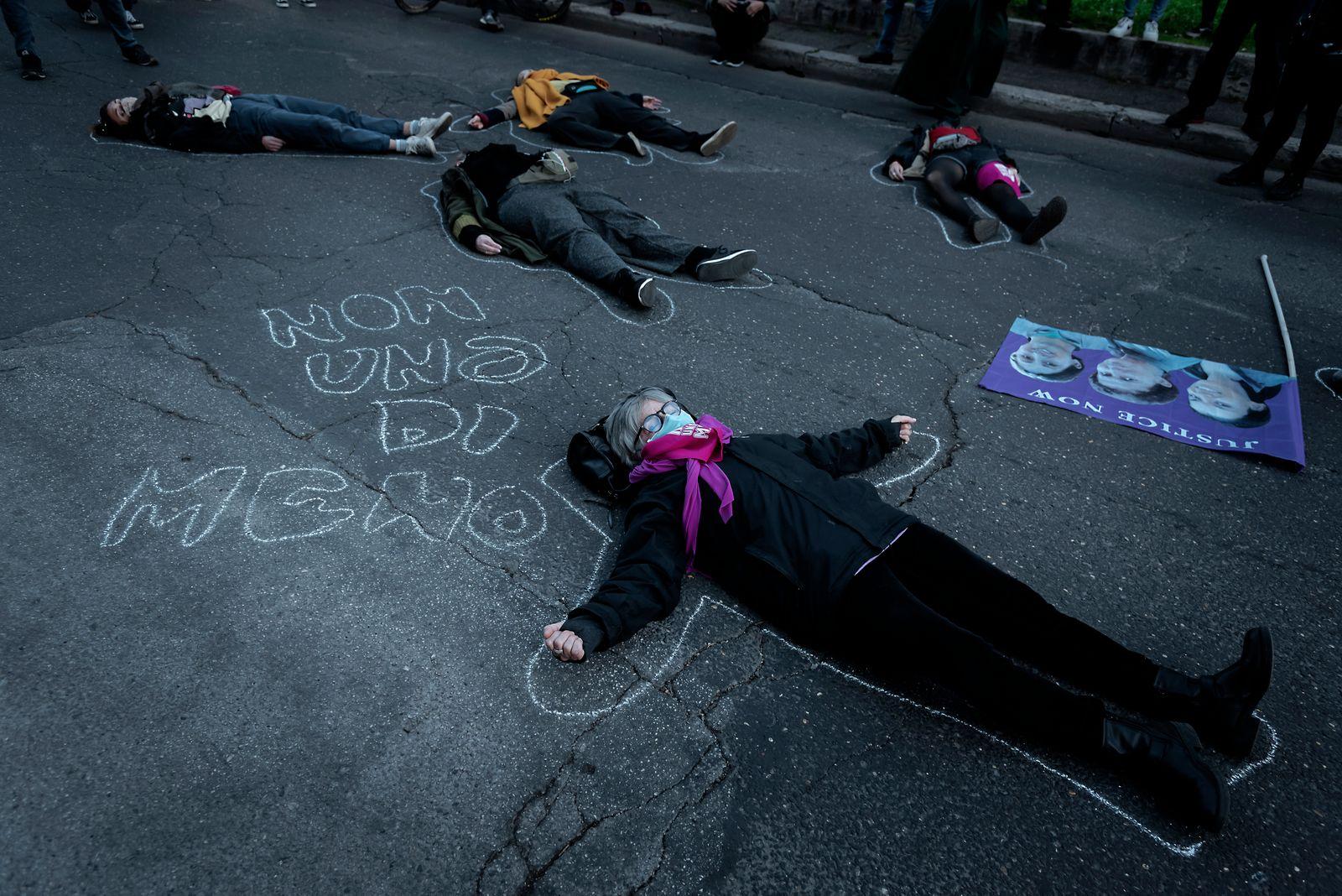 Italian Protestors Rally In Solidarity With Turkish Women