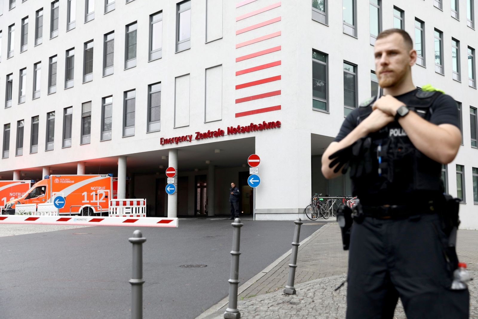 A general view shows an entrance of Charite Mitte Hospital Complex where Russian opposition leader Alexei Navalny is expected to be treated after being brought to Germany, in Berlin