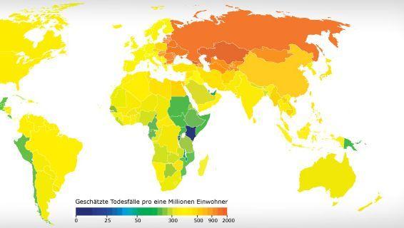 Grün sind wenige, rot viele: Geschätzte Todesfälle durch Herz-Kreislauf-Erkrankungen infolge einer zu hohen Natriumaufnahme