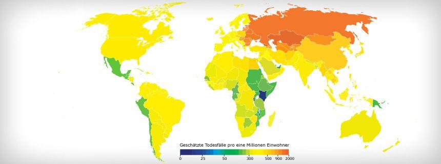 Weltkarte Salzkonsum und Todesfälle