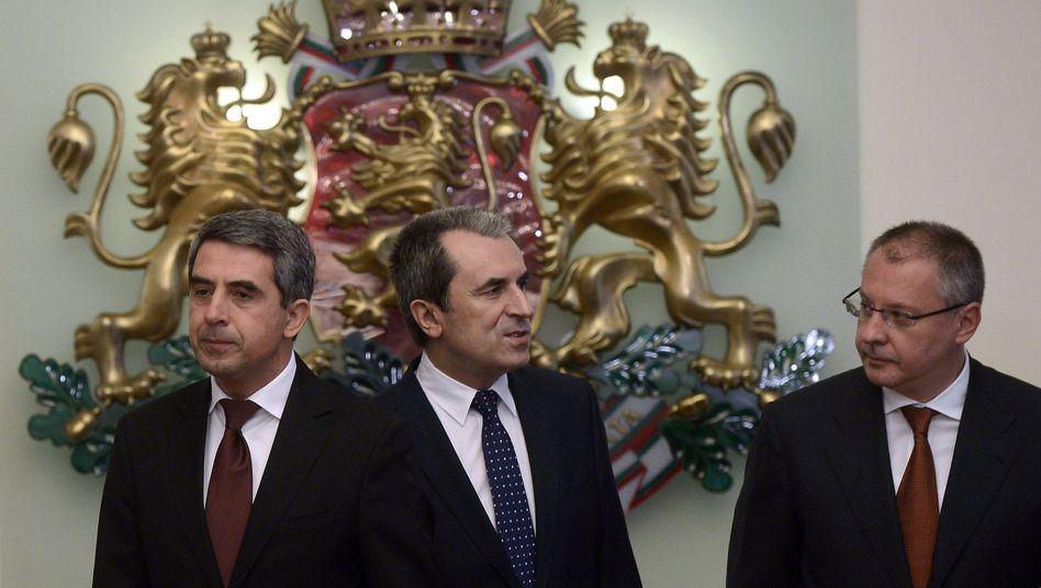 Staatspräsident Plewneliew, Ministerpräsident Orescharski und und PES-Chef Stanischew: Politische Krise in Bulgarien