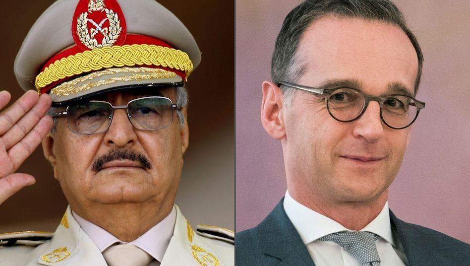 General Khalifa Haftar und Heiko Maas: Offenbar ist der Gegner der Zentralregierung in Tripolis bereit zu einer Waffenruhe