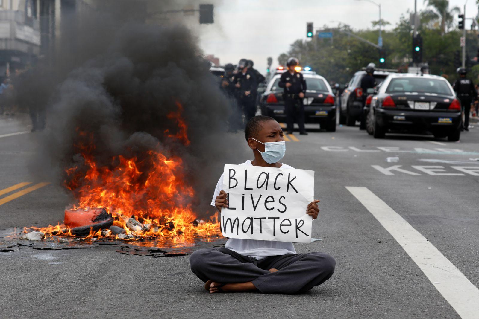 Protests against the death in Minneapolis police custody of George Floyd, in Los Angeles