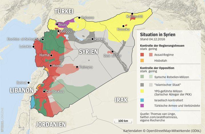 Frontverläufe in Syrien