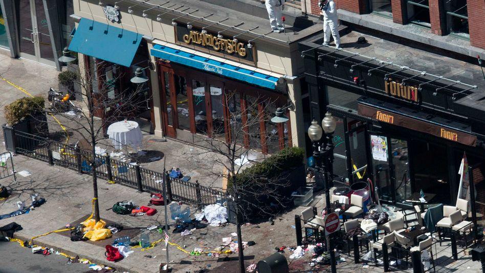 Ort der Explosion in Boston: Sprengsätze aus Schnellkochtöpfen