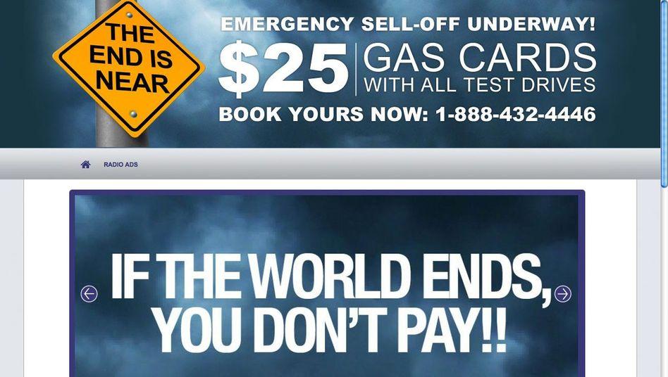 """GM-Werbung: """"Geht die Welt unter, müssen Sie nicht bezahlen"""""""