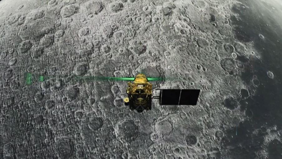 """Diese Aufnahme des """"Chandrayaan-2""""-Orbiters zeigt die Landefähre kurz vor dem Aufprall"""