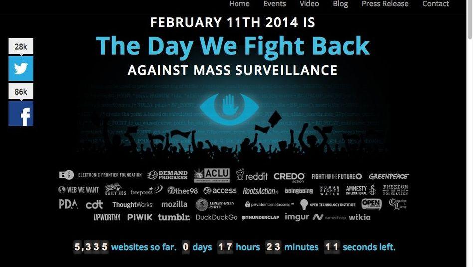 """Kampagnenseite """"The Day We Fight Back"""": """"Liebes Internet, wir haben keine Lust mehr, uns über die NSA zu beschweren"""""""