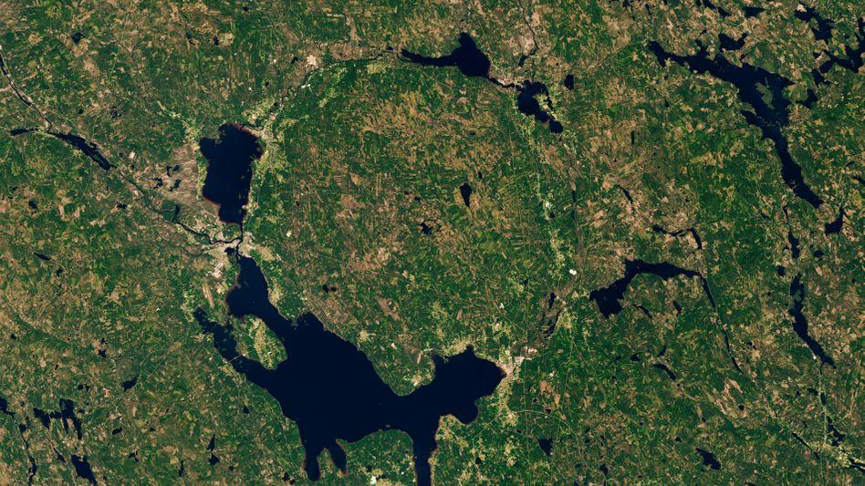 Die Seen von Dalarna aus dem All, der größte von ihnen ist der Siljan