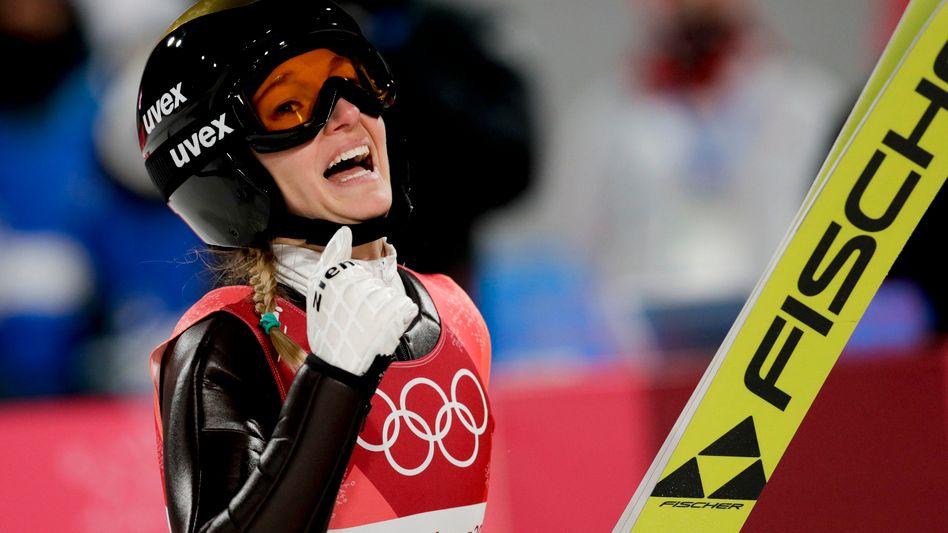 Katharina Althaus beim Gewinn von Olympia-Silber in Pyeongchang