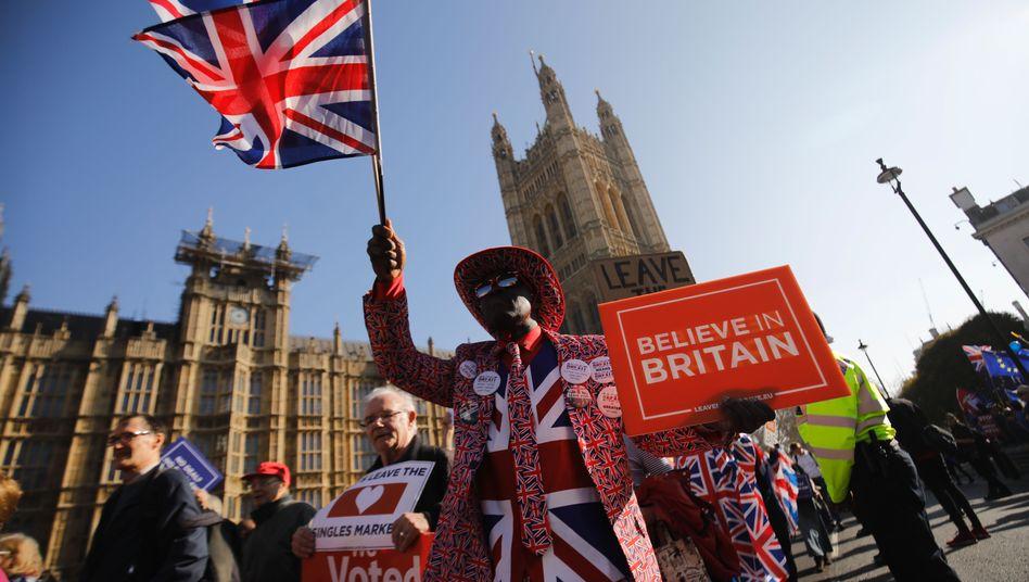 Pro-Brexit-Aktivisten vor dem Parlament in Westminster