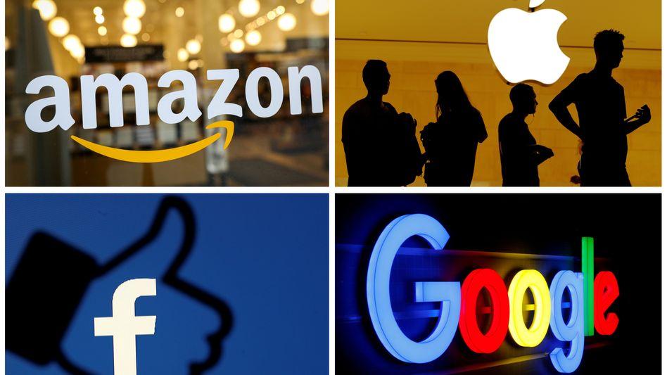 Logos der großen IT-Konzerne: Die US-Unternehmen verzahnen sich immer stärker mit der Finanzwelt