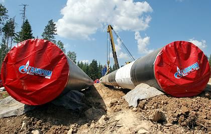Construction of the northern European gas pipeline, which will eventually deliver the natural resource from Russia directly to Germany under the Baltic Sea.