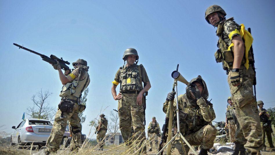 Ukrainische Soldaten vor Donezk: Bereit zum Einmarsch