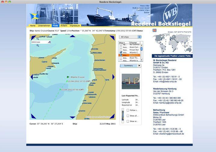 Screenshot von der Internetseite der Reederei Bockstiegel: Die Route des Frachters