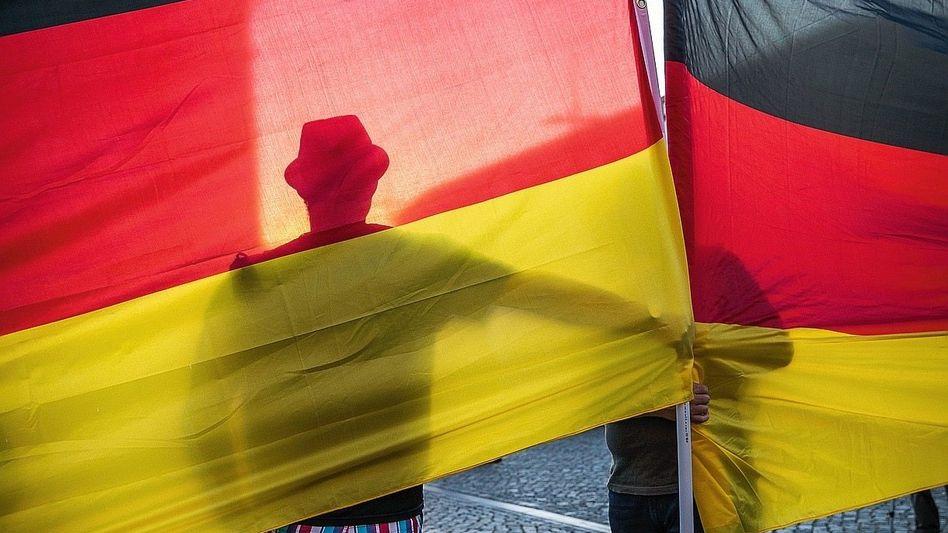 Demonstranten in Dresden im August 2018