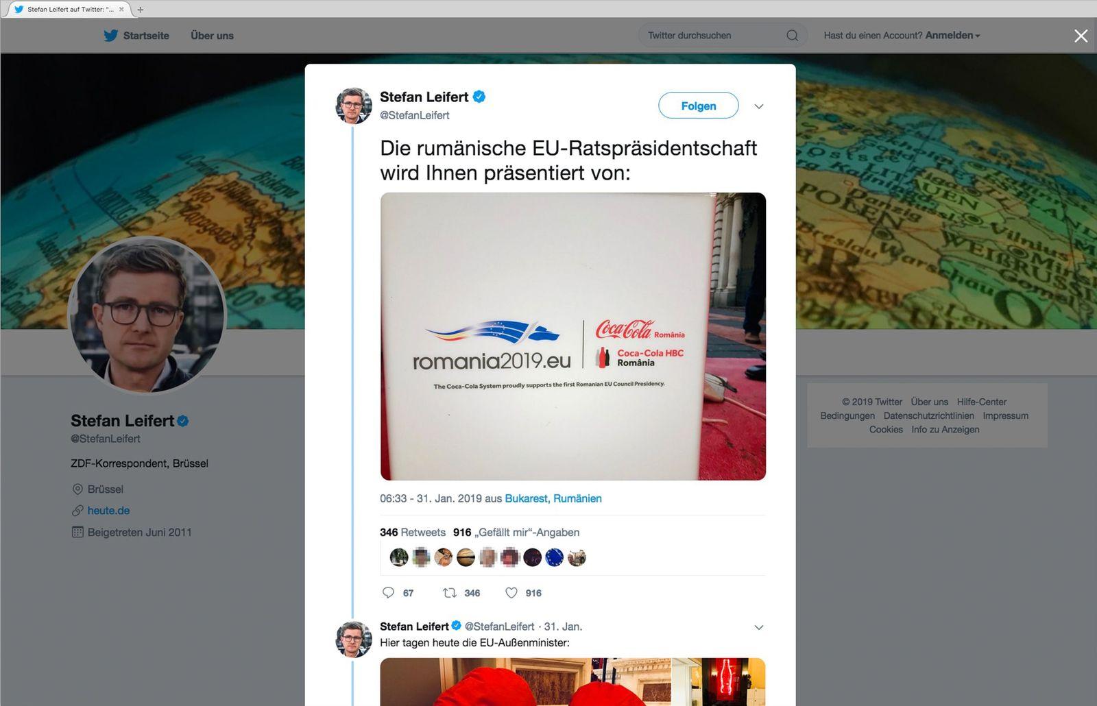 EINMALIGE VERWENDUNG Stefan Leifert/ Rumänien/ Coca Cola NUR ALS ZITAT SCREENSHOT