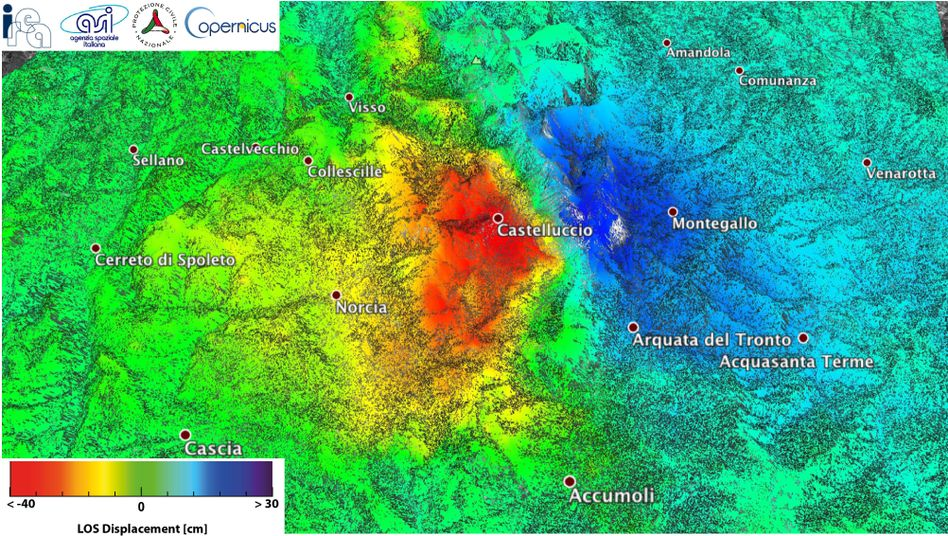 Radarbild des italienischen Erdbebengebiets
