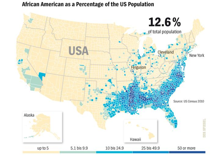 Map: The African-American population in the US.
