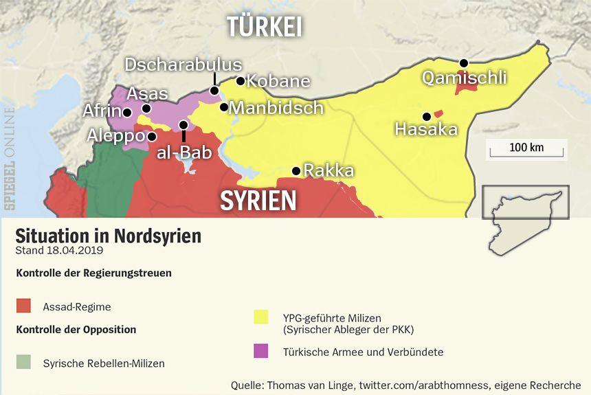 Karte Nordsyrien Gebiete Kontrolle Stand 18.4.2019
