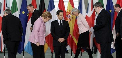 European Union leaders gathered in Berlin on Sunday to find a common position on international financial oversight.