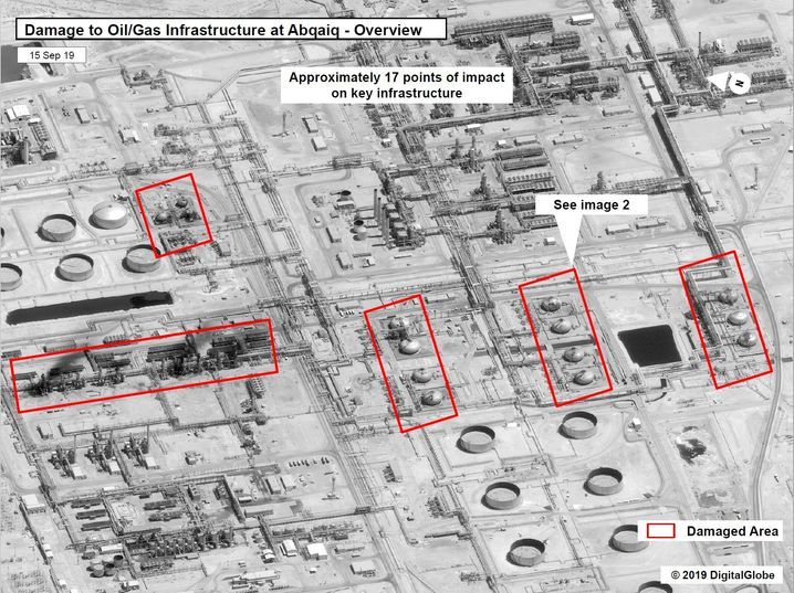 This satellite image shows where the damage was done at the Abqaiq site.
