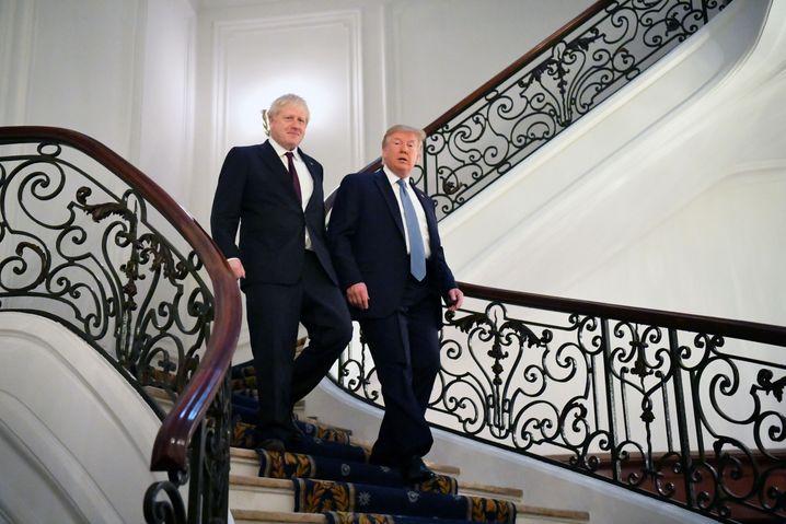 """Boris Johnson und Donald Trump (im August 2019): """"Die Amerikaner beten alle für seine Genesung"""""""