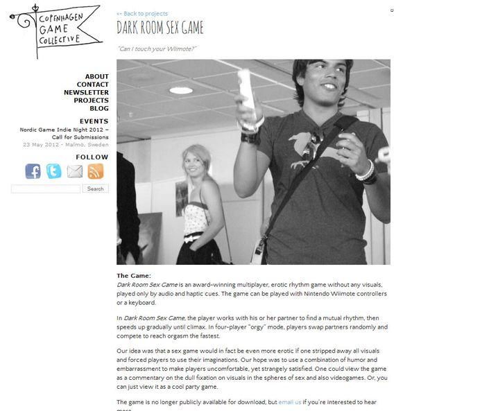 """Website des """"Dark Room Sex Game"""": Das 2008 erschienene Rhythmusspiel für Windows wird mittlerweile nicht mehr zum Download angeboten - trotz großer Nachfrage. In dem Erotikspiel gilt es, mit Hilfe einer Wii-Fernbedienung Stöhngeräusche zu erzeugen."""