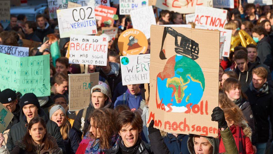 Protestierende Schüler Mitte Januar in Bonn
