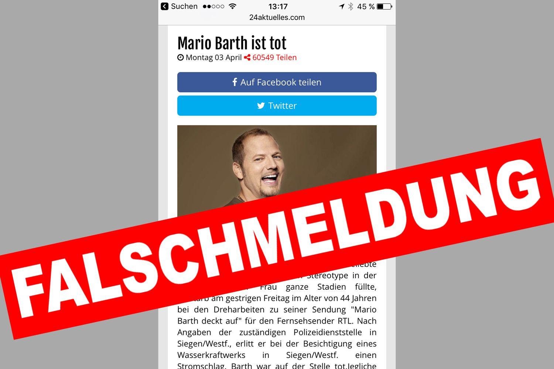 EINMALIGE VERWENDUNG Mario Barth/ Falschmeldung