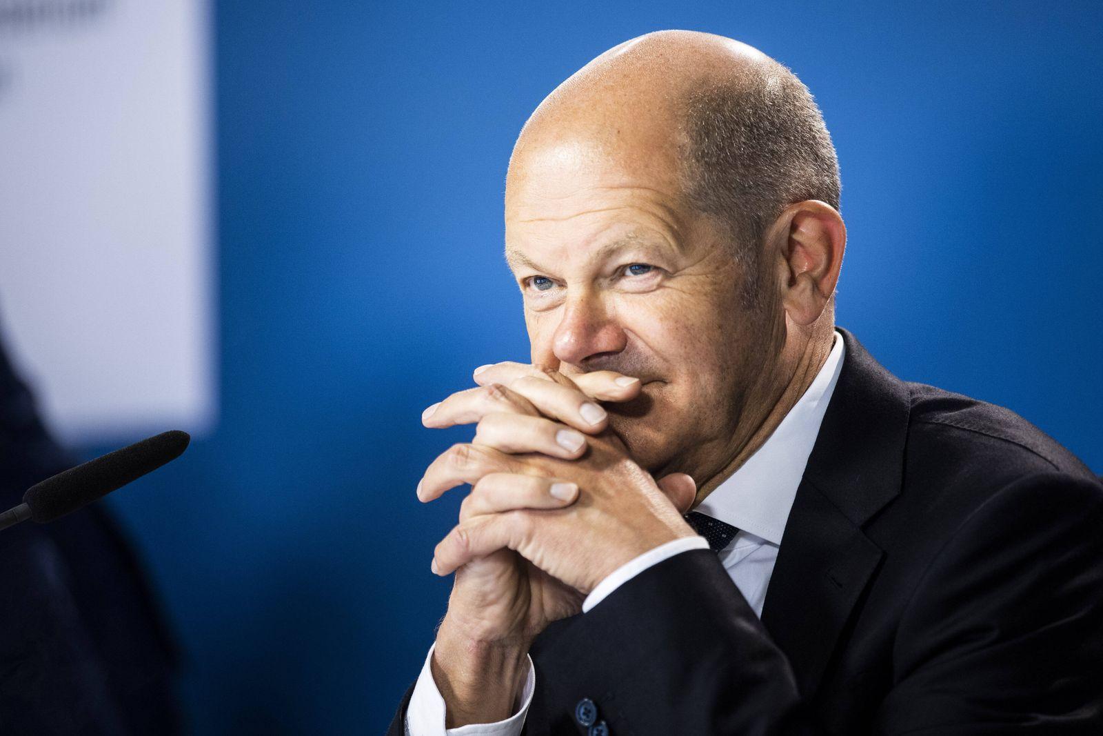 Olaf Scholz, Bundesminister der Finanzen, aufgenommen im Rahmen eines virtuellen Treffens der G7-Finanzminister in Berl
