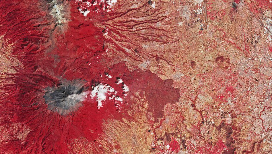 Satellitenbild des Popocatépetl vom 25. Februar