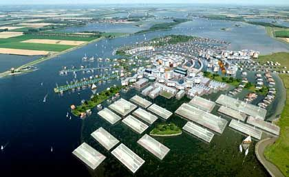 """Model of a """"swimming city."""" Could this be an answer for New Orleans, too?"""