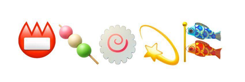 Japanische Emojis: Namennschild, Feiertags-Snack, Fischkuchen, Schwindelgefühl, Kindertag