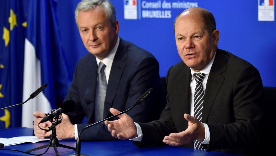 Finanzminister Olaf Scholz und sein französischer Kollege Bruno Le Maire