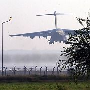 An Air Force cargo plane lands at Incirlik Air Base in Turkey. If US Congress passes the Armenian genocide resolution, military relations could suffer.