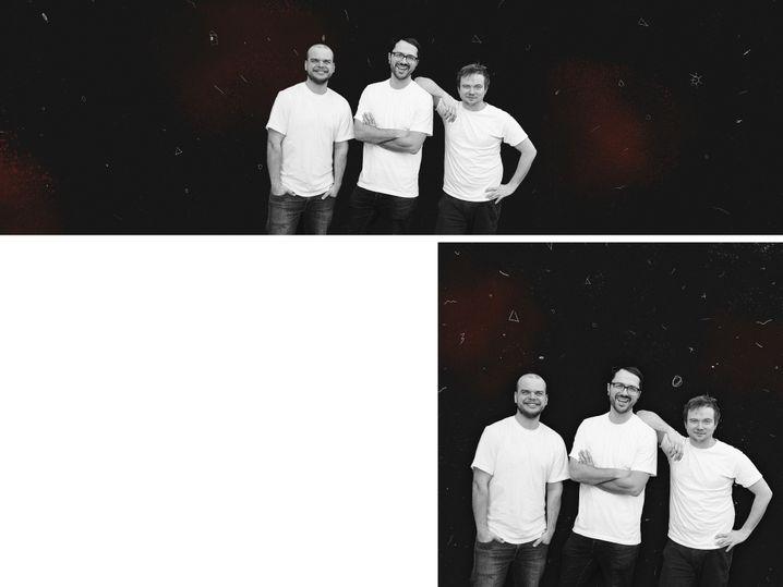 """""""Drei Väter - ein Podcast"""" mit Jonas Leppin, Axel Rahmlow und Markus Dichmann (v.l.)"""