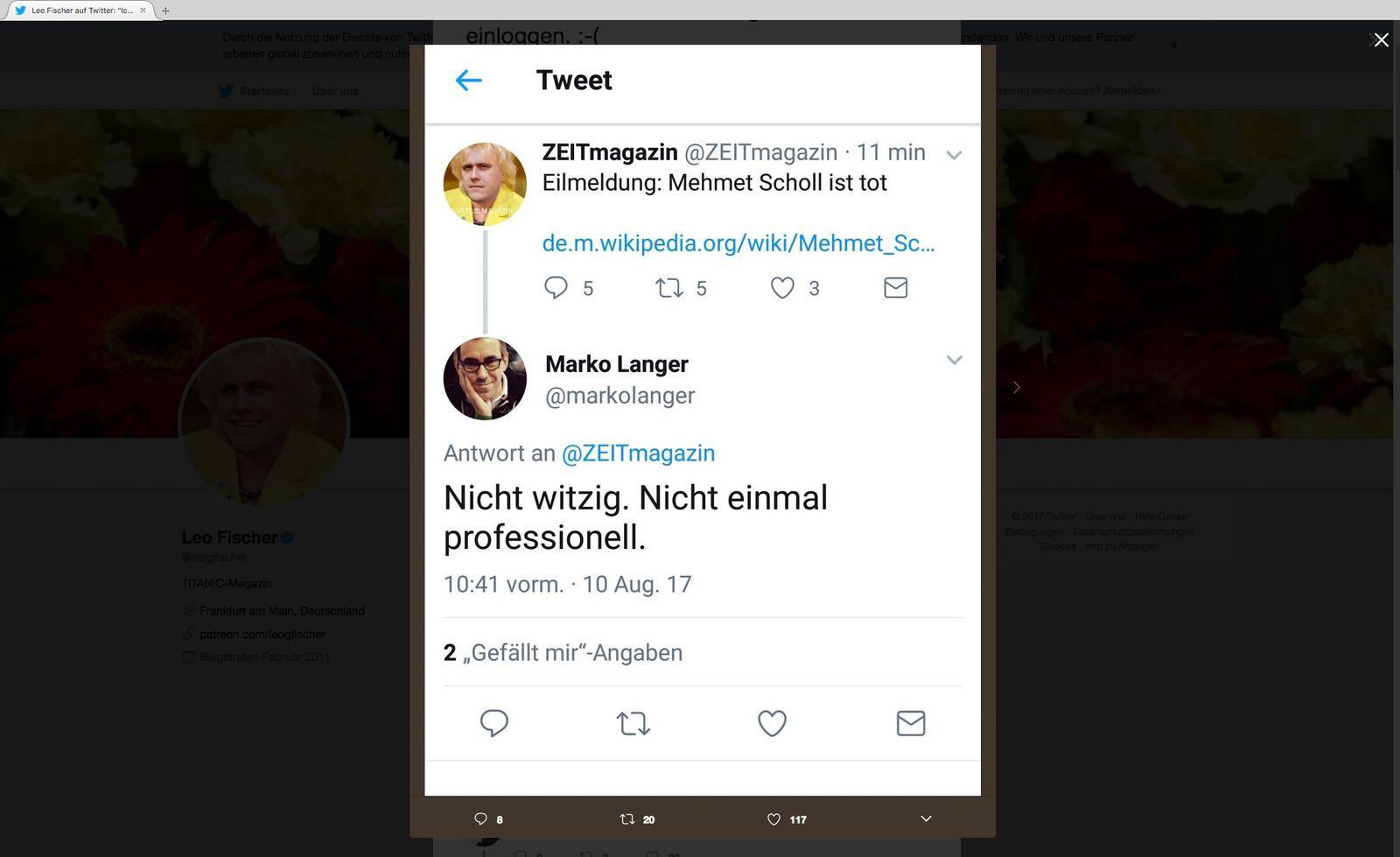 EINMALIGE VERWENDUNG Leo Fischer/ Twitter/ ZEITmagazin SCREENSHOT