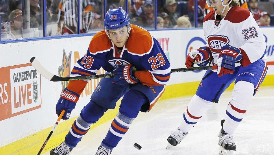 Oilers-Stürmer Draisaitl (l.): Treffer zum 1:3 und 4:3 gegen die Montreal Canadiens