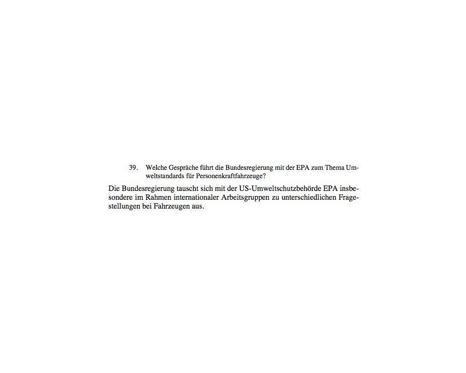 EINMALIGE VERWENDUNG Kleine Anfragen/ VW-Skandal/ Grüne/ Auskunft