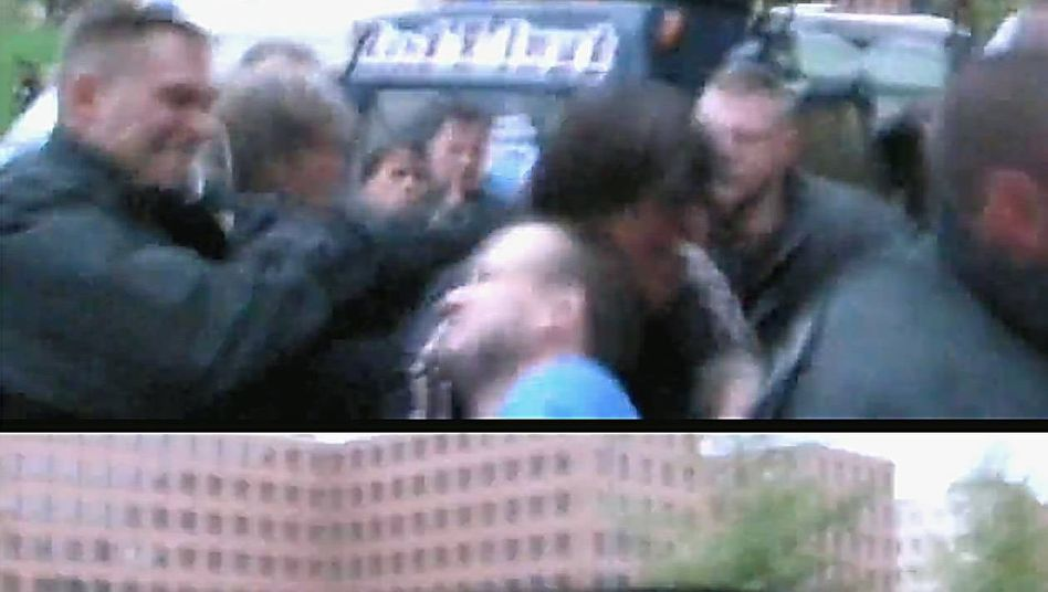 Einzelbild aus einem aus der Hand gedrehten Film: Video als Politikum